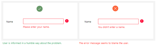 dont blame user in error message