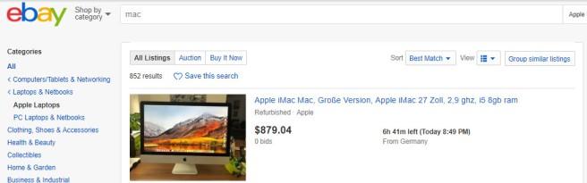 ebay result options