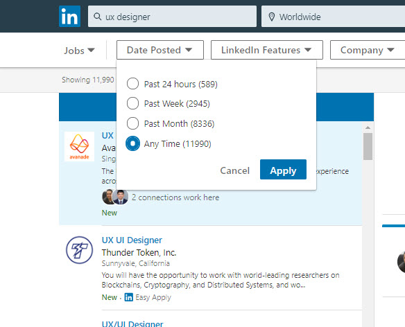 Linkedin Checkbox List