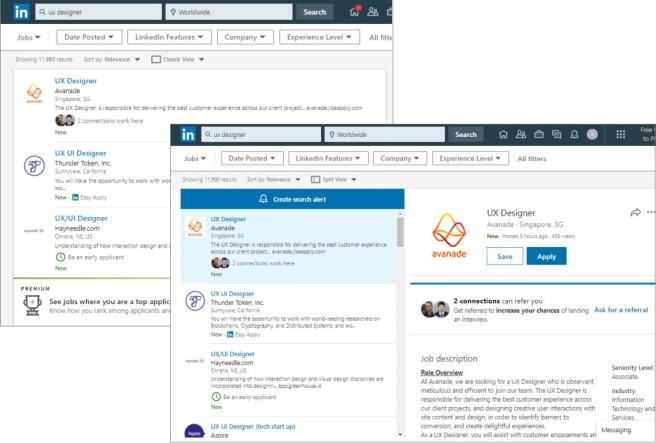 linkedin search layout