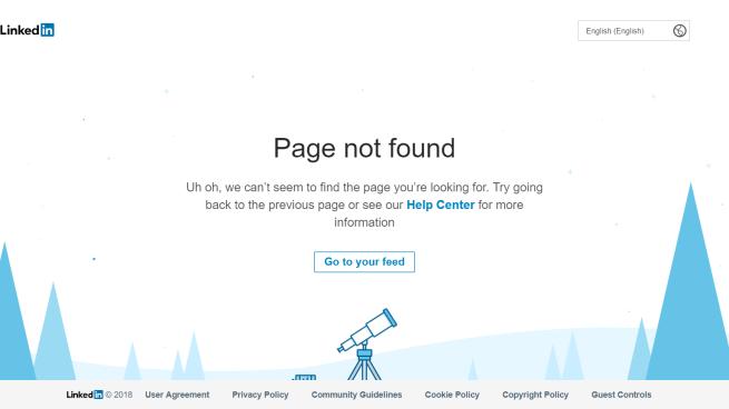 linkedin error page