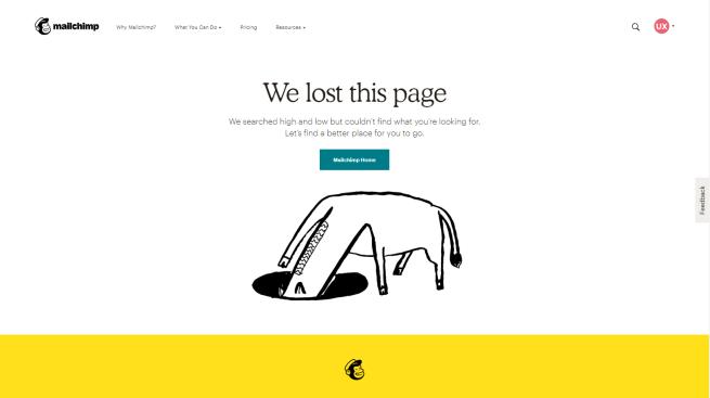 mailchimp error page